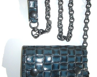 Black and Blue weave embossed leather wallet with black heavy chain.
