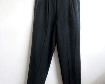 Vintage 1980s Pants Black Wool Black Satin Stripe Tuxedo Mens Pants Small