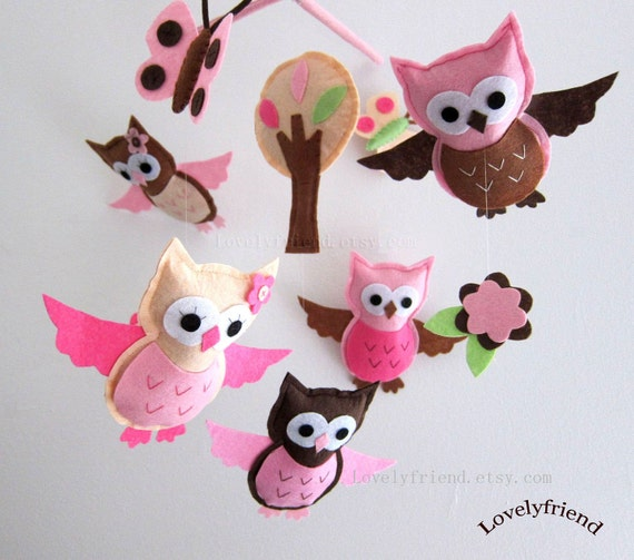 Beautiful Pink Baby Flying Owls  Mobile - Baby Mobile - Felt Nursery Crib mobile - Brown and Pink Owls Loves (Choose Your Felt Color)