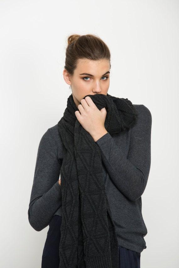 Black knitted scarf, winter scarf, diamond scarf, shawl scarf, patterned scarf, marengo dark grey ladies scarf, wool scarf, knit garment