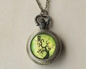 Owl Pocket Watch Necklace -Spooky Tree Pendant - Antique Bronze Locket