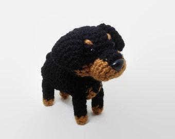 Rottweiler Amigurumi Dog Crochet Dog Stuffed Animal Doll / Made to Order