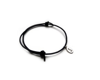 Wisdom and knowledge sign bracelet- handmade sterling silver 925 pendant on leather cord- GRASS SNAKE sign