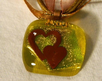 Fused Glass pendant with Copper Hearts Dichroic Yellow Shimmer