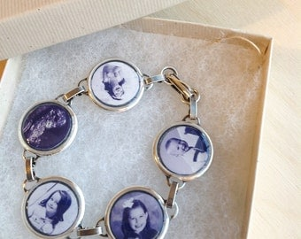 Custom Photo Bracelet - WATERPROOF - 5 Personal Photos - Antiqued Silver - Family Gift Personalized - Picture Bracelet