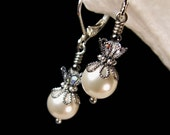 Edwardian Jewelry | Downton Abbey Earrings, Necklaces, Rings White Pearl Drop Silver Victorian Earrings Ivory Cream Pearl Edwardian Bridal Dangles Antique Gunmetal Filigree Titanic Temptations 13029 $19.00 AT vintagedancer.com