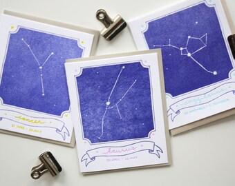 Letterpress Card - Zodiac Constellation Cards