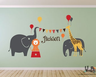 Circus theme personalized name decals with Elephants Giraffe Lion Balloons, kids wall decals