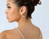 Jennifer Lawrence Inspired Back Necklace, Rhinestone Bridal Backdrop Necklace - PN20