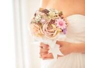 Brooch Bouquet - Custom Medium Bridal Bouquet - Romantic Silk Flowers & Enamel Brooches - Made to Order - Pink, Lavender, Purple, White