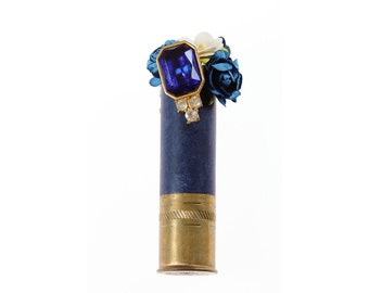 Shotgun Shell Boutonniere Navy | Bullet Bout | Army Blue Gold Wedding Hunter Military Outdoors | Country Wedding Handmade In Stock 1000516