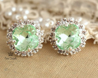 Mint earrings,Silver Mint Studs,Swarovski Mint Earrings,Clear Mint Earrings,Bridal Mint Earrings,Bridesmaids Earrings,Gift for her,Studs
