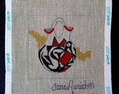 Handpainted HP Needlepoint Canvas - Signed JANE AURICH Southwest Pottery Theme