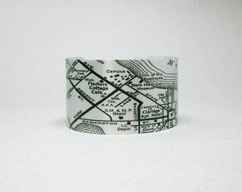 Madison Wisconsin Vintage Road Map Cuff Bracelet Gift for Men or Women