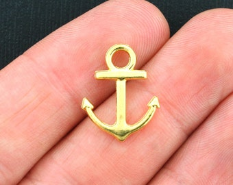 12 Anchor Charms Gold Tone 2 Sided- GC355