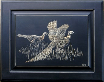 Ring Neck Pheasants Carved on Cabinet Door