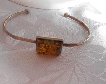 Vintage bracelet, sterling silver and amber bracelet, marked 925 cuff bracelet, vintage jewelry