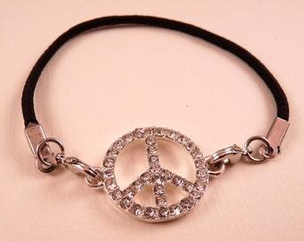 Peace Sign Bracelet Peace Sign Jewelry Black Bracelet  Black Jewelry Rhinestone Jewelry