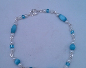 Blue Glass and White Faux Pearl Bracelet