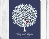 Wedding Guest Book  . wedding tree. To Be Personalized With Guest's Signatures - 17x22 - 160 Signature Wedding Guest Book tree