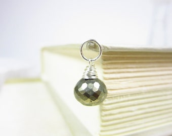 Sale - Sterling Silver Charms - Wire Wrapped Jewelry Handmade - Faceted Pyrite Charm - Gold Pyrite Gemstone - Fool's Gold - Large Gemstone P