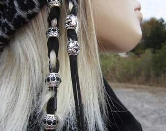 Hair Jewelry Leather Hair Ties Wraps Silver Beads Suede Ponytail Holders  Z106
