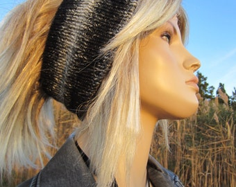 Ear Head Warmers Wool Headband Hairband Muff, Warm Black OMBRE Striped Ski Snow Tube Hat A1037