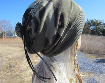 Camo Tie Back Hat Camouflage Slouchy Beanie Hat Olive Green A1306