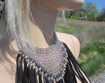 Chainmaille Black Leather Fringe Bib Necklace Choker Neck Cuff Silver Metalwork Chainmail