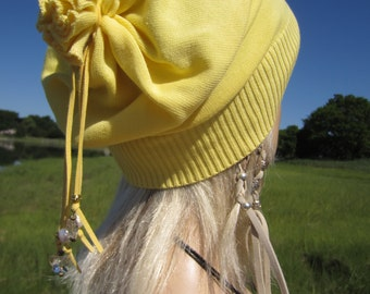 Bohemian Clothes Slouchy Beanie Hat Women's Lightweight Cotton Tie Back Slouch Tam Yellow Butterfly Fresh Water Pearls A1299C