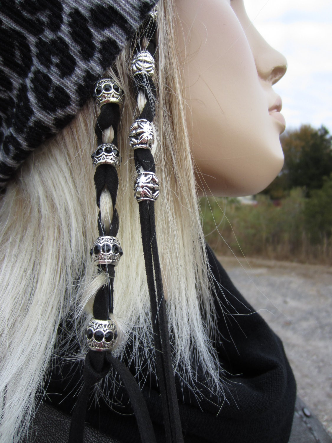 Hair Jewelry Leather Hair Ties Wraps Silver Beads Suede