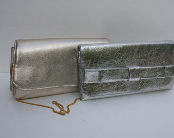 Vintage Gold Lame' And Silver Lame' Clutch Purses Handbags - Set of 2