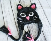 Ready to Ship - Cat Hat - Black Cat Hat - Baby Cat Costume Hat - Kitty Hat - Halloween Costume Cat Hat --by JoJosBootique