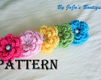 PDF Flower Clip PATTERN - Crochet Flower Pattern - Flower Tutorial - Crochet Pattern -by JoJosBootique