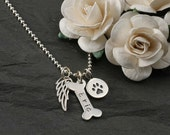 Dog Bone, Wing,  and paw print Necklace - Personalized - Sterling Silver