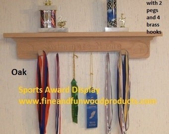 Oak wall Shelf or Sports Award Display for Swimming, Hockey, Skiing, Snowboarding, Track, Basketball, Baseball, Soccer or any sport