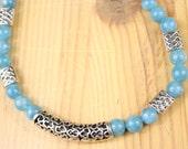 Light Blue Agate Ball Necklace Celtic Knot Pendants