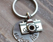 Camera Key Chain - Hand Stamped Capture Life Photographer Key Chain - Vintage Brass - Photographer Gift - Valentine's Day Gift