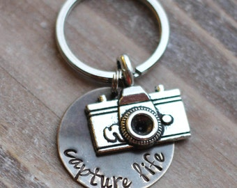 Camera Key Chain - Hand Stamped Capture Life Photographer Key Chain - Vintage Brass - Photographer Gift