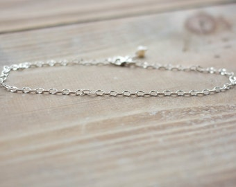 Sterling Silver Anklet - Simple Dapped Oval Chain Anklet - Freshwater Pearl - Dainty Delicate Anklet - Summer Beach Anklet