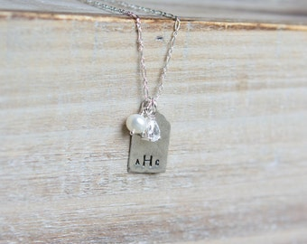 Monogram Necklace - Sterling Silver - Cubic Zirconia - Initial Tag Necklace - Rustic Handstamped - Layering Necklace - Bridal Jewelry