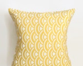 Yellow Scallop Pillow Cover - Yellow and White Pillow Cover - 18 x 18 - Coastal Chic
