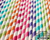 BRIGHT RAINBOW Eco-friendly Paper Party Straws & Digital Flags - Made in America - - - FDA approved - - - Ships within 1 business day