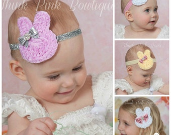 Easter Bunny Headband, Easter Headband, Baby headband, CHOOSE COLOR baby headband, Infant Headband, Toddler Headband,Easter Hair Bows. #46