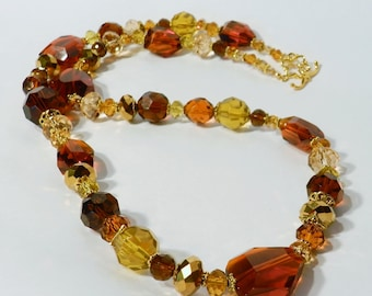 Earth Tone Jewelry, Gold and Brown Crystal Necklace perfect for Autumn