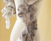 SALE 50% Nuno felted scarf ruffle Gray collar Wool and Silk  Art to Wear