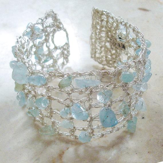 Crochet Aquamarine Silver Handmade Fiber Art Lace Bracelet, Aqua Turquoise Romantic Bracelet with Sterling Silver Crochet Wire