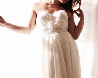 Wedding Dress Bustier wedding gown Chiffon  Lace- In The Month Of July Gown