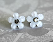 Titanium  Earrings, White Glitter Flower with Jewel, 12 mm, Hypoallergenic