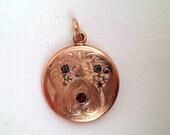 Antique Victorian Art Deco Rose Gold Filled Watch Fob Pendant Paste Rhinestones